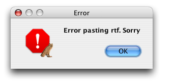 Bad selection error message