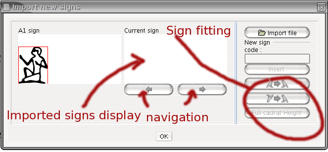 New signs importing interface