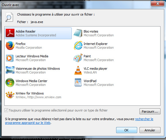Windows can't find java ?: Problem met with windows 8 and JSesh... don't choose anything, cancel!